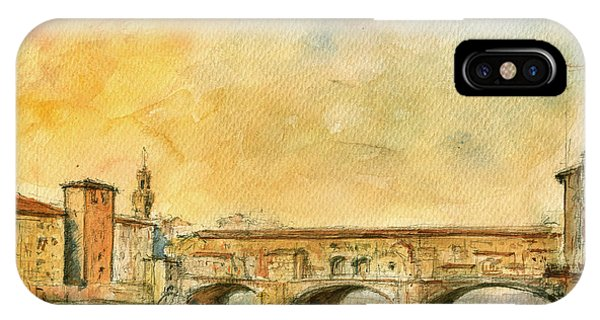 Italy iPhone Case - Florence Bridge Ponte Vecchio by Juan  Bosco