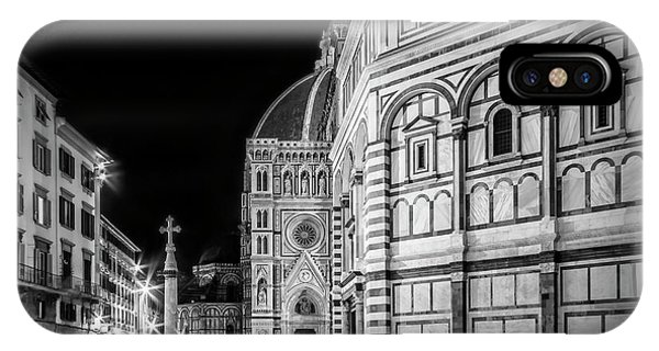 Florence Saint Mary Of The Flowers And Baptistery In Monochrome IPhone Case