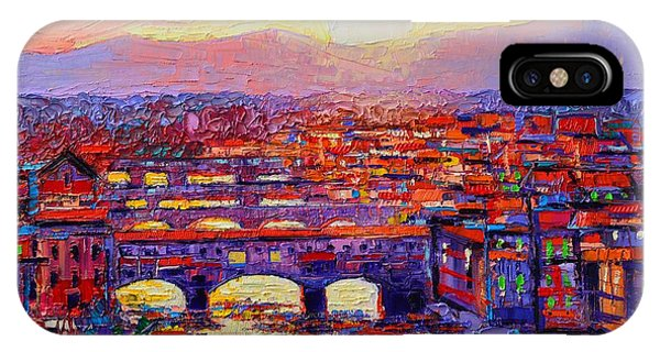 Florence Sunset Over Ponte Vecchio Abstract Impressionist Knife Oil Painting By Ana Maria Edulescu IPhone Case