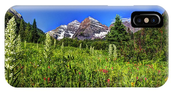 Flower-filled Meadow At Maroon Bells IPhone Case