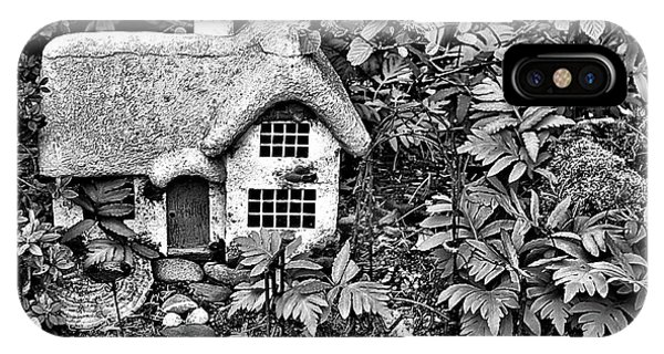 Flower Garden Cottage In Black And White IPhone Case
