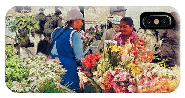 Flower Market - Cuenca - Ecuador IPhone Case