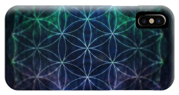 Flower Of Life iPhone Case - Flower Of Life Neon by Edouard Coleman