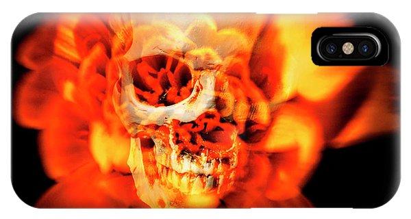 Fire iPhone Case - Flower Skull by Jorgo Photography - Wall Art Gallery