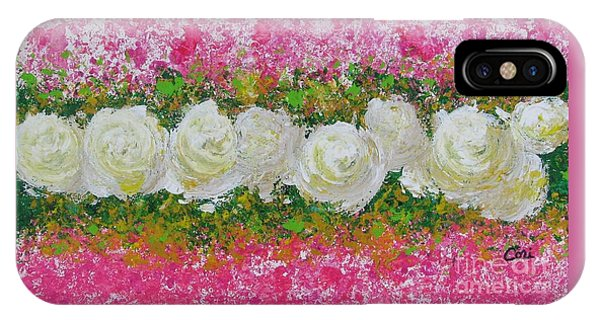 Flowerline In Pink And White IPhone Case