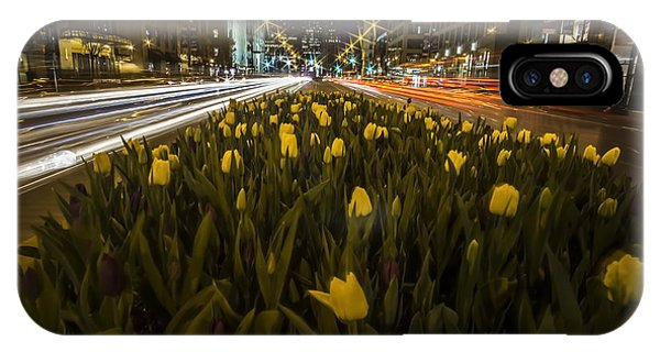 Flowers At Night On Chicago's Mag Mile IPhone Case