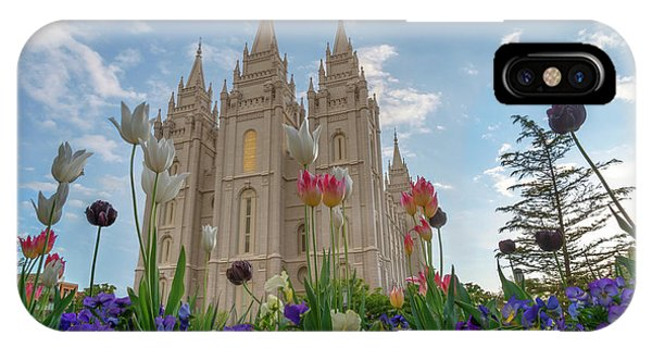 Flowers At Temple Square IPhone Case