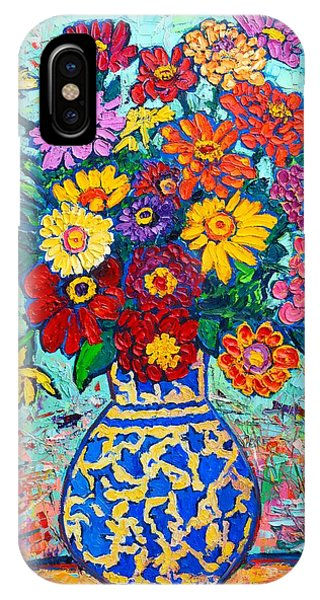 Flowers - Colorful Zinnias Bouquet IPhone Case