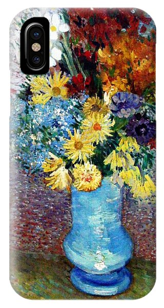 IPhone Case featuring the painting Flowers In A Blue Vase  by Van Gogh
