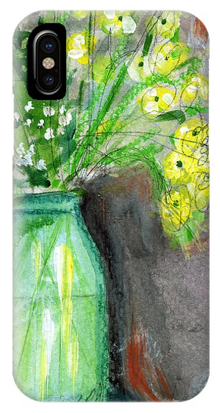 Daisies iPhone Case - Flowers In A Green Jar- Art By Linda Woods by Linda Woods