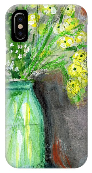Bouquet iPhone Case - Flowers In A Green Jar- Art By Linda Woods by Linda Woods