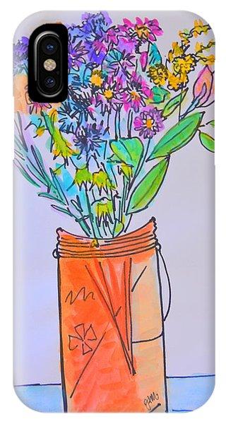 Flowers In An Orange Mason Jar IPhone Case