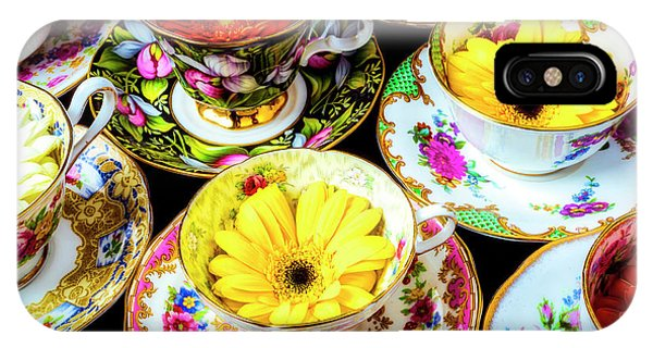 Saucer iPhone Case - Flowers In Tea Cups by Garry Gay
