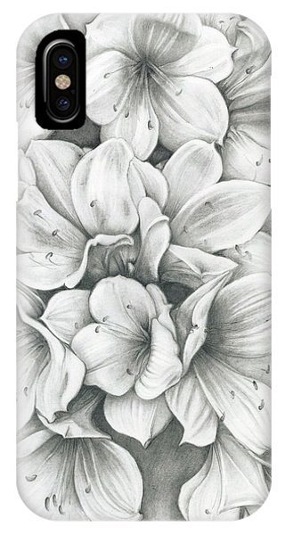 IPhone Case featuring the drawing Clivia Flowers Pencil by Melinda Blackman