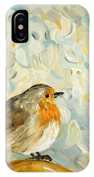 Fluffy Bird In Snow IPhone Case