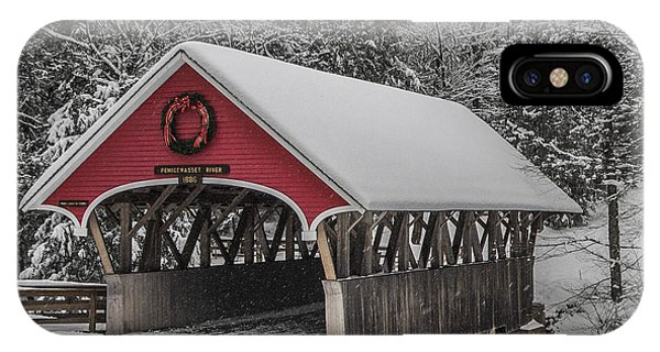 Flume Covered Bridge In Winter IPhone Case