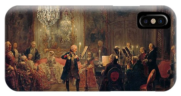 IPhone Case featuring the painting Flute Concert With Frederick The Great In Sanssouci by Adolph Menzel