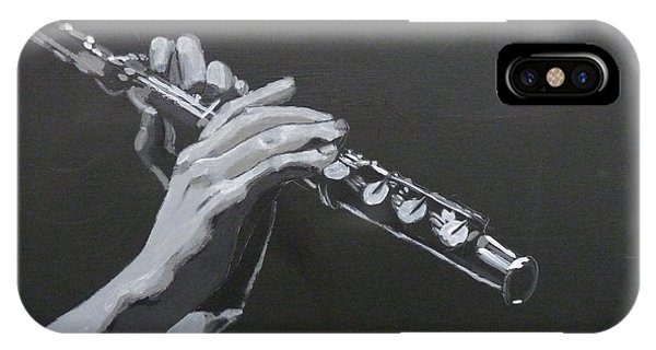 IPhone Case featuring the painting Flute Hands by Richard Le Page