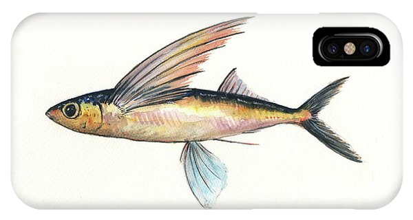 Flying iPhone Case - Flying Fish by Juan Bosco