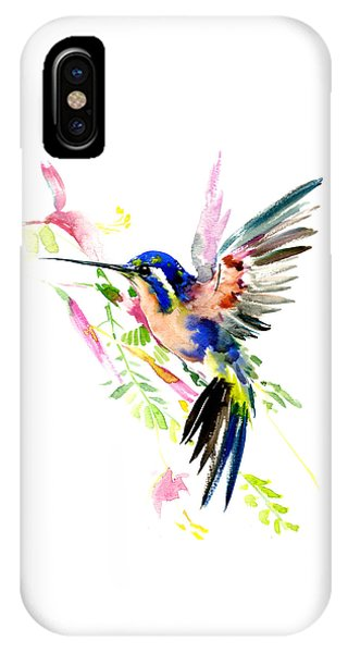 Hummingbird iPhone Case - Flying Hummingbird Blue Peach Colors by Suren Nersisyan