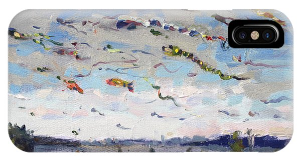 Waterscape iPhone Case - Flying Kites Over Gratwick Park by Ylli Haruni