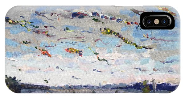 Flying iPhone Case - Flying Kites Over Gratwick Park by Ylli Haruni
