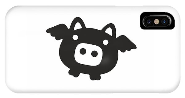 Good Humor iPhone Case - Flying Pig - Black by Julia Jasiczak