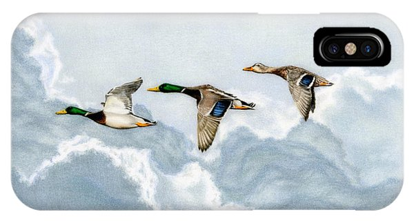Mallard iPhone Case - Flying South by Sarah Batalka