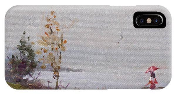 Waterscape iPhone Case - Fog And Rain At Gratwick Waterfront Park by Ylli Haruni