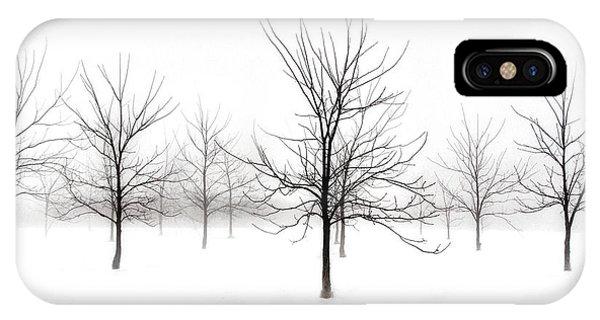Fog And Winter Black Walnut Trees  IPhone Case