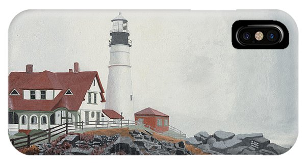 IPhone Case featuring the painting Fog Approaching Portland Head Light by Dominic White
