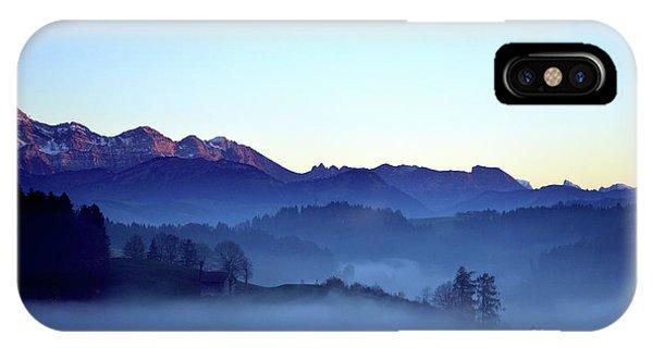 Fog Creeps Up The Valley - Switzerland IPhone Case