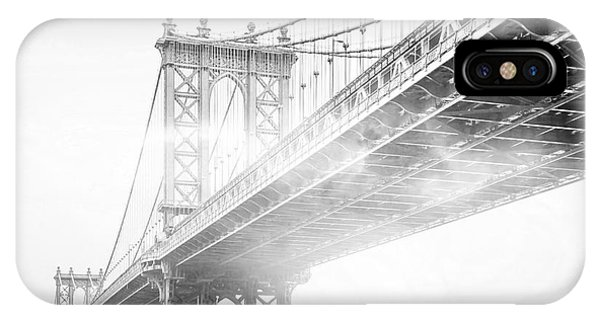 Black And White iPhone X Case - Fog Under The Manhattan Bw by Az Jackson