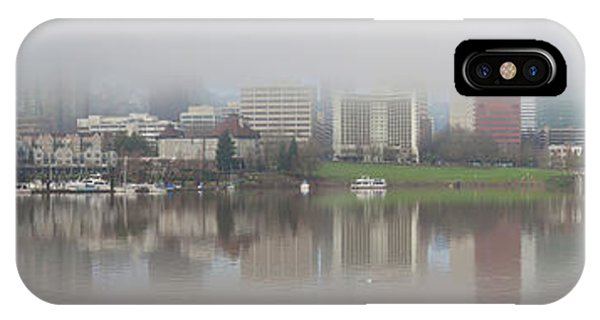 Foggy Day Along Portland Waterfront Panorama IPhone Case
