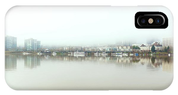 Foggy Day On Portland Downtown Waterfront IPhone Case