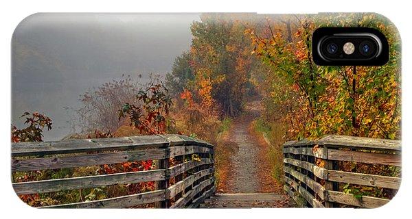 Foggy Fall Trail IPhone Case