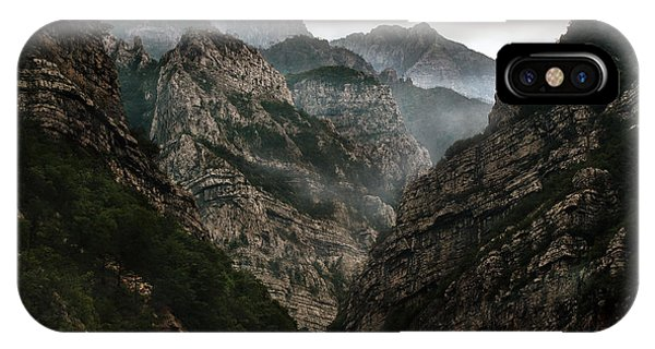 IPhone Case featuring the photograph Foggy Mountains Over Neretva Gorge by Jaroslaw Blaminsky
