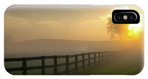 IPhone Case featuring the photograph Foggy Pasture Sunrise by Steven Frame