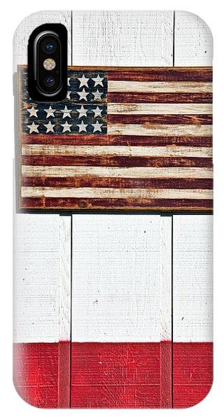 Folk Art American Flag On Wooden Wall IPhone Case