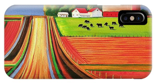 Silos iPhone Case - Folk Art Farm by Toni Grote