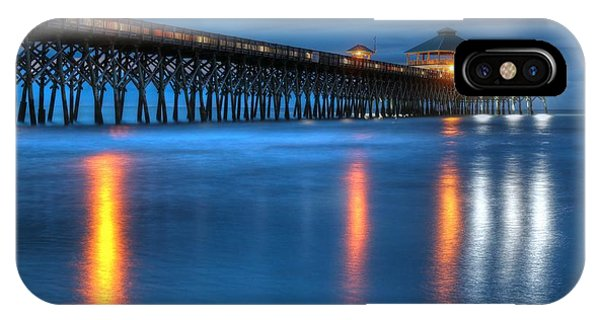 Folly Beach Pier At Blue Hour Charleston South Carolina IPhone Case