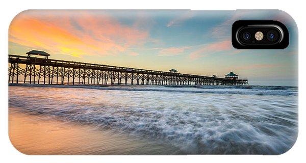 Folly Beach Pier At Dawn - Charleston Sc IPhone Case