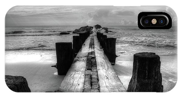 Folly Beach Pilings Charleston South Carolina In Black And White  IPhone Case