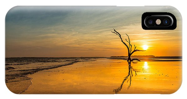 Folly Beach Skeleton Tree At Sunset - Folly Beach Sc IPhone Case