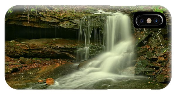 Somerset County iPhone Case - Forbes State Forest Cole Run Cave Falls by Adam Jewell