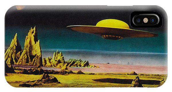 Forbidden Planet In Cinemascope Retro Classic Movie Poster Detailing Flying Saucer IPhone Case