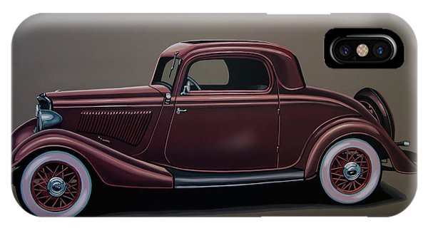 Oldtimer iPhone Case - Ford 3 Window Coupe 1933 Painting by Paul Meijering