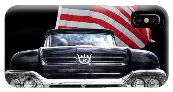 Ford F100 With U.s.flag On Black IPhone Case