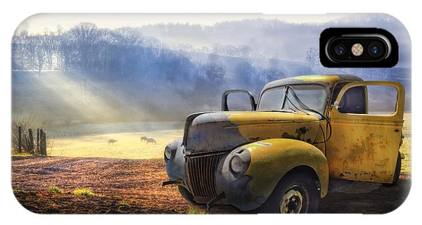 Car iPhone X Case - Ford In The Fog by Debra and Dave Vanderlaan