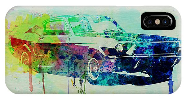 Vintage Car iPhone Case - Ford Mustang Watercolor 2 by Naxart Studio